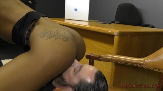 Ebony Secretary Sarah Banks Makes Her White Boss Lick Her Asshole - Femdom  ass worship black domme facesitting femdom black meanbitches kink office butt foot worship female domination ass licking secretary ebony dominatrix lick her asshole