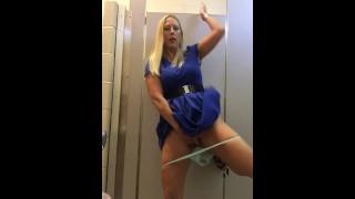 Sexy pussy play in public bathroom!