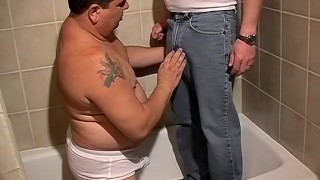 Fat dude Lycan loves to drink Shadows piss in the bathtub Wanking toes