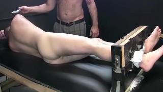 Dark haired dude begging for mercy while tied and tickled Cub cock