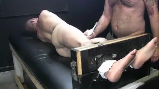 Dark haired dude begging for mercy while tied and tickled Hardcore drunk