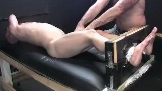 Dark haired dude begging for mercy while tied and tickled Bubble brunette