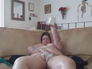 BBW Shaving Pussy, Giving it a Milk Bath, and Masturbating Anally to Orgasm