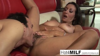 MILF with big tits wants a facial Couple hardcore