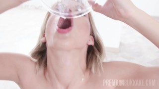 Premium Bukkake - Ria Sunn swallows 66 huge cum loads Penetration foursome