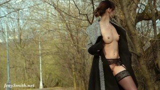 Smith jeny in stockings by spring flashing outside high