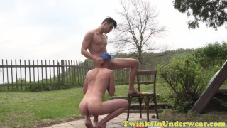 Jerking outdoors and underwear sucking twinks tugging wanking