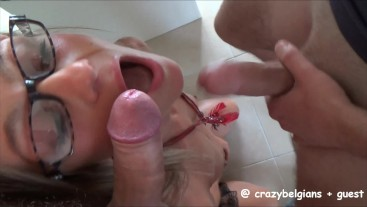 Hot Threesome with double facial