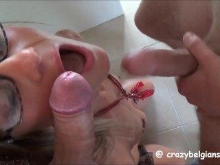 Amateur Milf Son Xxx Hot Threesome with double facial