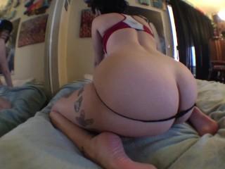 Butt plug, dildo, then dick in tight ass