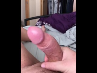 """stroking my 8"""" very thick cock. Remembering the night before."""