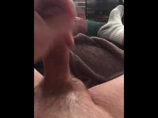 "Furiously stroking my big thick 8"" cock till I cum.  A video for an old lov"