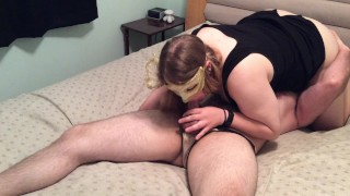 Facesitting hotwife tells husband about her date  sissy chastity tease and denial orgasm denial condom blowjob femdom facesitting amateur femdom hotwife cuckold facesitting chastity amateur cuckold kink pussy licking orgasm control men in panties cock cage