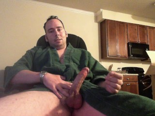 Large Iron Cast Cock Gets Attention From Cassese Tim in Green Robe