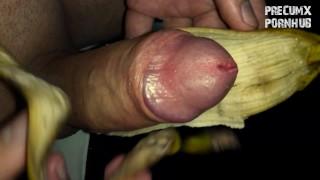 Masturbating with banana peel and cumming on it