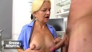 A patient receives a handjob from a dirty MILF doctor Marta