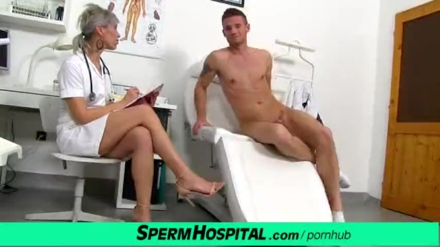 Doctor touching penis Cfnm penis medical exam with sexy czech milf doctor beate