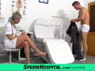 CFNM penis medical exam with sexy Czech MILF doctor Beate