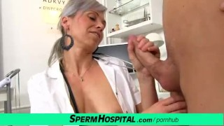 CFNM penis medical exam with sexy Czech MILF doctor Beate Cumshot fetish