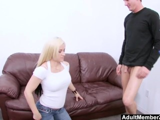 Preview 1 of AdultMemberZone - Blonde's First Time in Front of a Camera