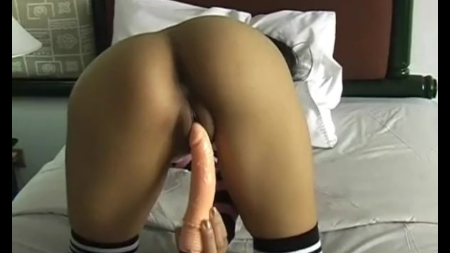 Sexy ass Asian brunette has a hot time as she masturbates