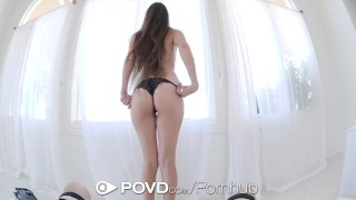 POVD Car troubled brunette Arielle Faye fucked and facialed for help