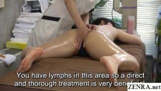 Subtitled JAV lesbian massage clinic prone treatment