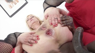 Blonde cougar in tight dress gets anal creampie from black guy