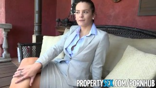 PropertySex - Rich dude fucks hot home insurance agent Outside riding