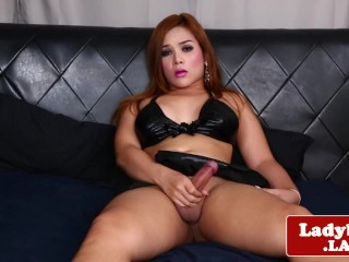 Curvy bigtitted ladyboy wanks hard cock solo