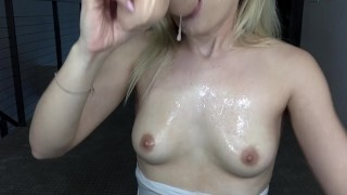 Sloppy Spit blowjob w/ dildo Fuck girls