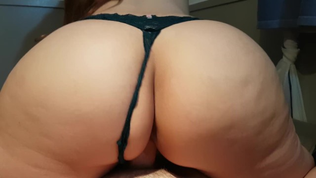 Black lace panties pussy - Big ass in black lace panties rides cock, gets fucked doggy, and cum on ass