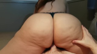 Preview 3 of BIG ASS IN BLACK LACE PANTIES RIDES COCK, GETS FUCKED DOGGY, AND CUM ON ASS