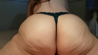 Preview 5 of BIG ASS IN BLACK LACE PANTIES RIDES COCK, GETS FUCKED DOGGY, AND CUM ON ASS