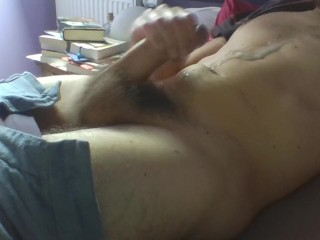 Jerking my big French cock while watching porn