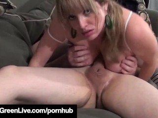 Big Boobed Blonde Maggie Green Pussy Fucks Her Man's Face!