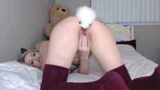 LENASPANKS  Horny Kitty Cam Girl, Anal, Buttplug Tail Step step