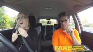 Fake Driving School Barbie earns her pass with a huge facial porno