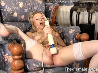 Hot Femorg Blonde in Stockings Masturbates Wet Pussy to Contracting Orgasm