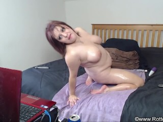 Chubby Oiled Up Dildo Riding and Sucking - Webcam Show - ALHANA WINTER