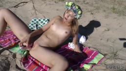 young candice masturbating out on the beach