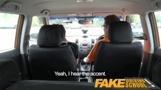 Preview 1 of Fake Driving School - Black haired Euro babe with Glasses Fucked in a Car
