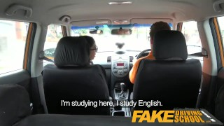 Preview 2 of Fake Driving School - Black haired Euro babe with Glasses Fucked in a Car
