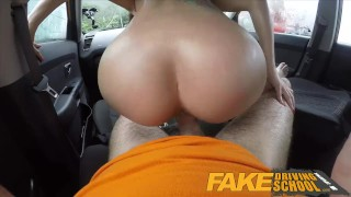 Fake Driving School Black haired Euro babe with Glasses Fucked in a Car