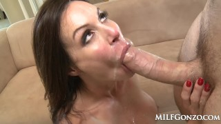 MILFGonzo Kendra Lust has her pussy impaled by young stud Creampie style