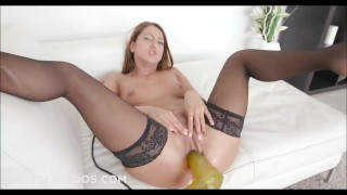 Babe taking a huge yellow brutal dildo on a fucking machine at high speeds Teen shaven