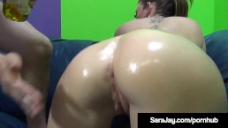 Big Booty Milf Sara Jay Films Her Pussy & Mouth Getting a Cock Stuffing at