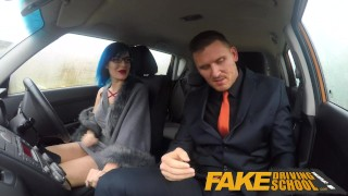 Fake Driving School Sexy emo gets her ass pounded and throat fucked Couple girlfriend
