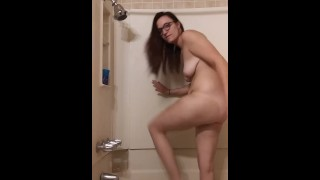 Milf Bathroom masturbation with dildo Petite tiny