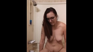 Milf Bathroom masturbation with dildo Massive cumshot